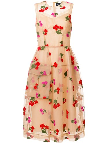 Simone Rocha Embroidered Floral Dress Cotton Polyamide Polyester Viscose Nude Neutrals naVXk7mit