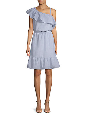 Design 365 Ruffled One Shoulder Fit And Flare Dress Chambray 07vUb