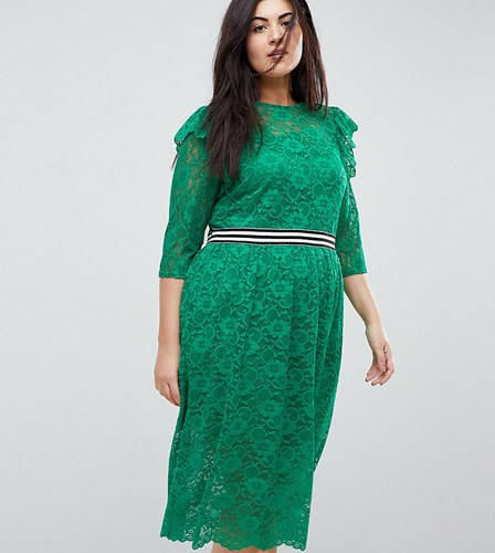 Asos Curve Midi Lace Tea Dress With Sports Tipping Green eZ7eqy
