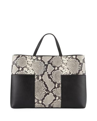 Tory Burch Block T Embossed Triple Compartment Tote Bag Snake Black pySCPR8m0D