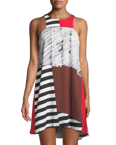 Neck Dress Milly Angular High Red Trapeze Fw5fPq