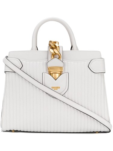 Moschino Quilted Logo Tote Bag White CNeHZW6Eg