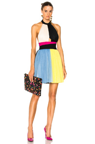 Fausto Puglisi Color Block Short Halter Top Tulle Dress In Black Blue Yellow Black Blue Yellow oSx1Uy