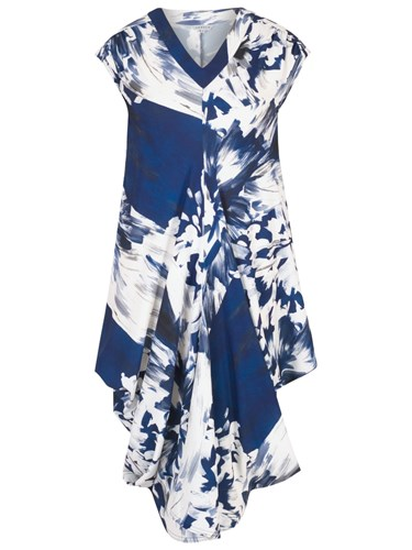 Chesca Abstract Block Floral Dress Blue White wD7yABrNA
