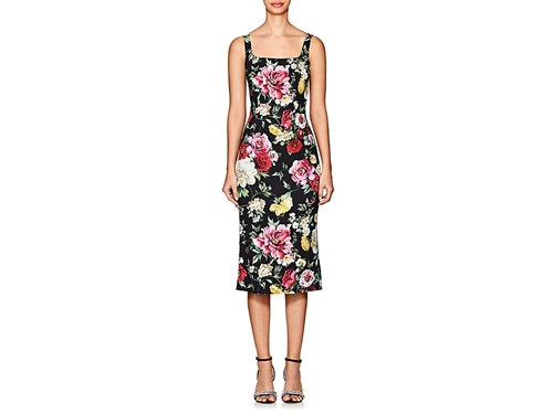 Dolce & Gabbana Floral Crepe Fitted Sheath Dress Black S8uaY