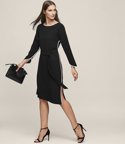 Reiss Agnes Piping Detail Dress In Black Womens tCpXjX