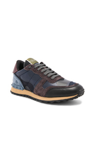 Valentino Rockstud Camouflage Sneakers In Blue Abstract Blue Abstract QjLTJBsgz