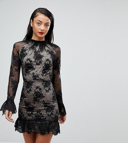 Asos Tall High Neck Open Back Lace Mini Dress Black N7ZLReVr