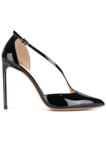 Francesco Russo Buckle Strap Stiletto Pumps Goat Skin Leather Patent Leather Black 3igCqd8
