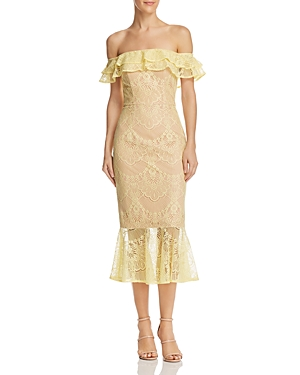 Jarlo Toril Off The Shoulder Lace Dress Yellow 90JpC