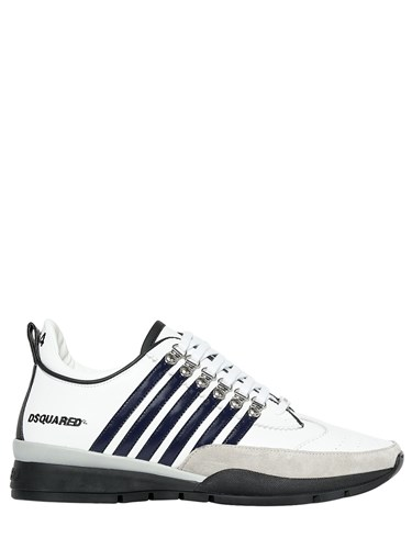 DSquared 251 Leather And Suede Sneakers White Navy cxWMqHB877