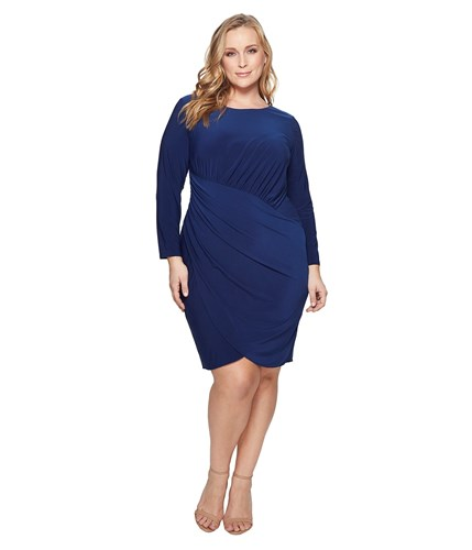Adrianna Papell Plus Size Matte Jersey Dress With Long Sleeve And Draped Wrap Skirt Navy Sateen Women's Dress 29oRDMuI