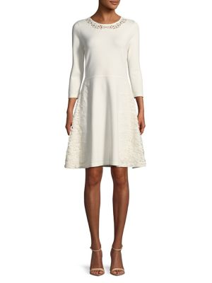 Eliza J Crocheted Leaf A Line Dress Ivory HlHczMj