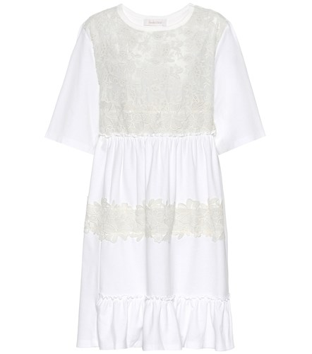 See by Chloe Lace Panelled Jersey Dress White 5t37eu