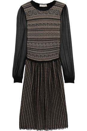 Valentino Pointelle Knit Wool Blend Dress Black rnNzL69d