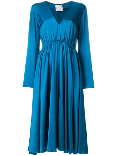 Forte Forte Gathered Midi Dress Blue Lnaj0