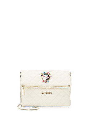Love Moschino Quilted Faux Leather Convertible Clutch Ivory szW0j
