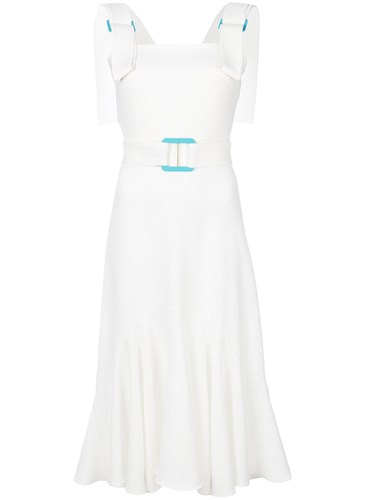 Lee Edeline White Midi Dress Flared Belted Ywxd4qS
