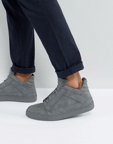 Steve Madden Dodge Hi Top Trainers In Grey Grey M3WKW5Ya