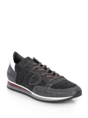 Philippe Model Leather Lace Up Low Top Sneakers Grey ufdRaJV4Q
