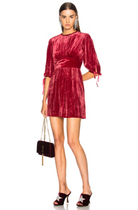 ALEXACHUNG Velvet Flute Sleeve Dress In Red huwqv8AD4
