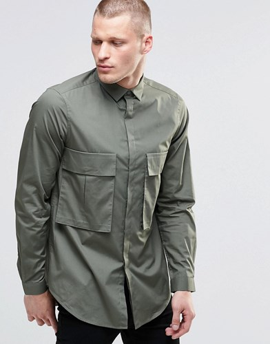 Oversized Shirt In Khaki With Drop Pocket And Long Sleeves Khaki Green