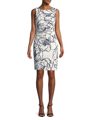 Ivanka Trump Floral Side Pleated Sheath Dress Ivory Multi gfVnP3z8k