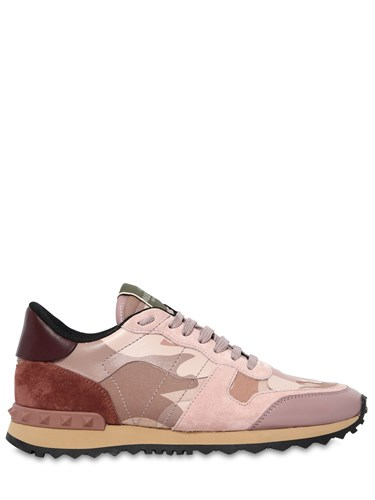 Blush Valentino Sneakers Leather Camo Rockrunner wIXqXRz
