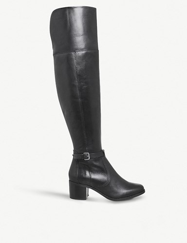 Office Kacey Leather Over The Knee Riding Boots Black Leather dX6k5pE