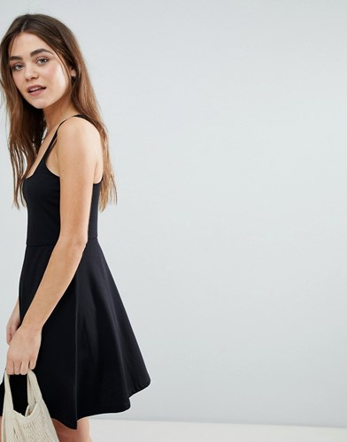 Asos Design Racer Back Skater Dress Black 6FaiCF