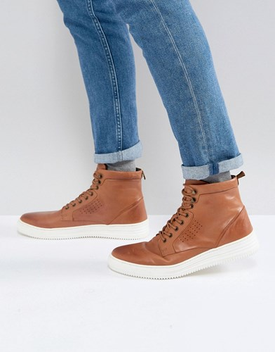 Asos Lace Up Boots In Tan Leather With White Sole Tan SUKndDw2oj