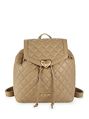 Love Moschino Quilted Drawstring Backpack Sand 7MHsfN