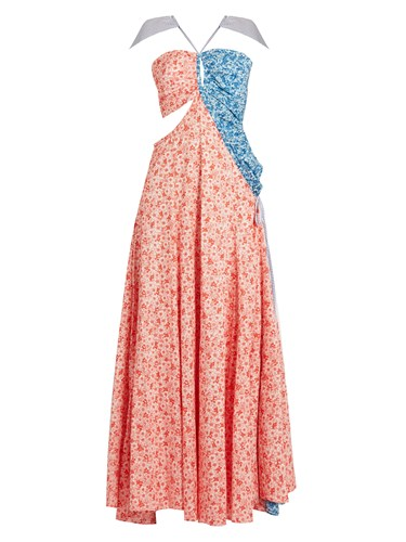 Rosie Assoulin Half And Half Floral Print Cotton Gown Red Print 6Tyre