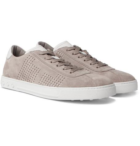 Gray And Perforated Suede Tod's Leather Sneakers xaXEnB