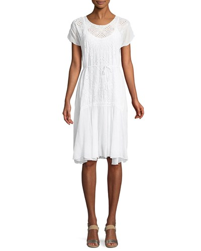 Dress Drop Embroidered White Waist Vice Eyelet Johnny Was qPTYFF