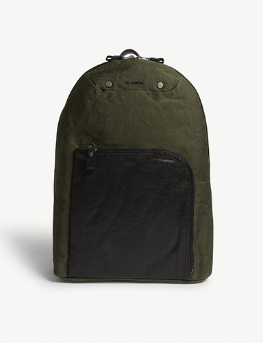 Diesel L4 Mix Leather Panel Backpack Olive Drab ZNrLty8