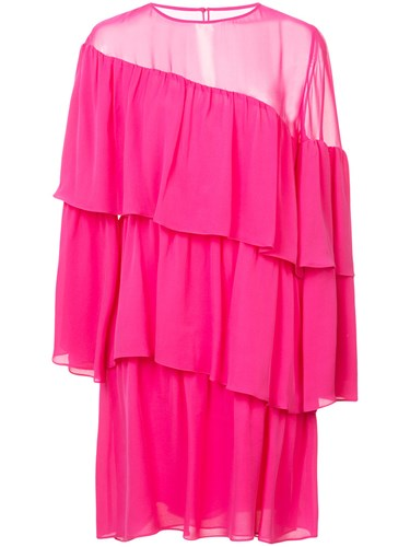 Vanessa Seward Diagonal Tiered Dress Silk Pink Purple nmA1JZ