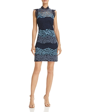 Laundry by Shelli Segal Lace Sheath Dress Denim Blue TXxIMk3