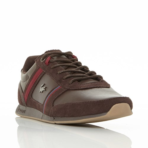Lacoste Menerva Leather And Suede Trainers Dark Brown NaIgf