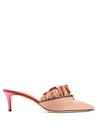 Mules Toe Embellished Marco Nude Vincenzo De Bow Point Satin 0t0wZCqF