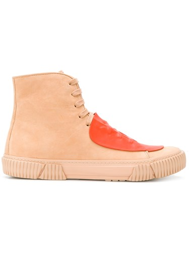Both Two Tone Hi Tops Horse Leather Rubber Leather Nude Neutrals E29TMm4X