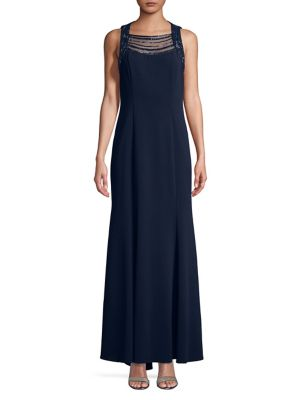 Vince Camuto Embellished Sleeveless Evening Gown Navy Dj8JMAL