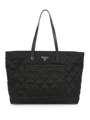 Prada Prada Tote Leather Quilted Black Quilted SxYwwP