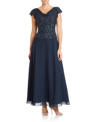 J Kara Cowl Neck Beaded Gown Navy nEuOFHIx