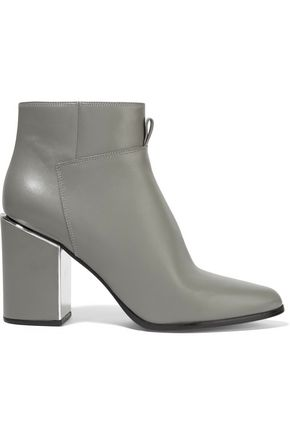 Green Leather Kenzo Trimmed Mirror Ankle Boots Grey zHqEYnqrS
