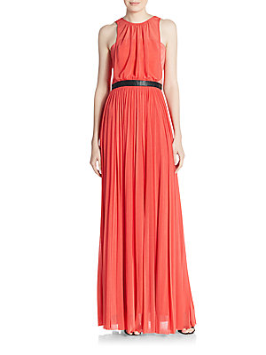 ABS by Allen Schwartz Pleated Sheer Overlay Gown Mint YyadBocXy