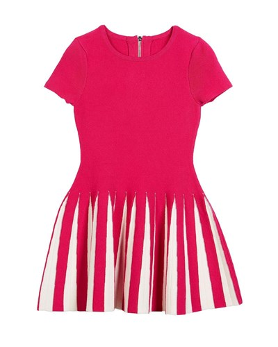 Milly Minis Pleated Contrast Flare Dress Pink ohlSz2a2Ht