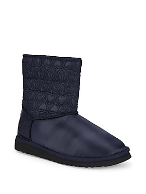 Love Moschino Faux Fur Lined Embroidered Booties Blue C8IUUQwDP