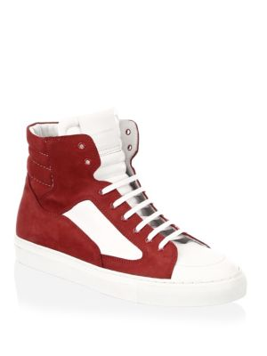 Public School White And Red Artel Leather High Tops l1RYVJ