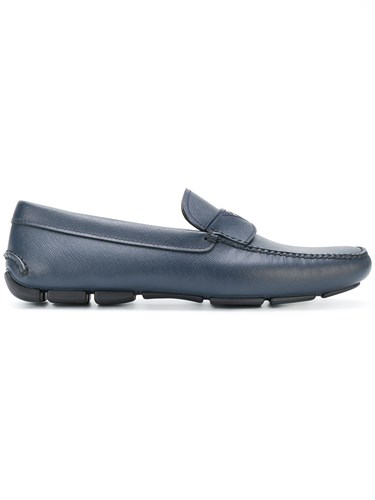 Prada Logo Plaque Loafers Blue VjAIxrYxWQ
